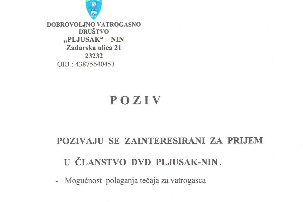 P O Z I V – POZIVAJU  SE  ZAINTERESIRANI  ZA  PRIJEM  U  ČLANSTVO  DVD  PLJUSAK-NIN