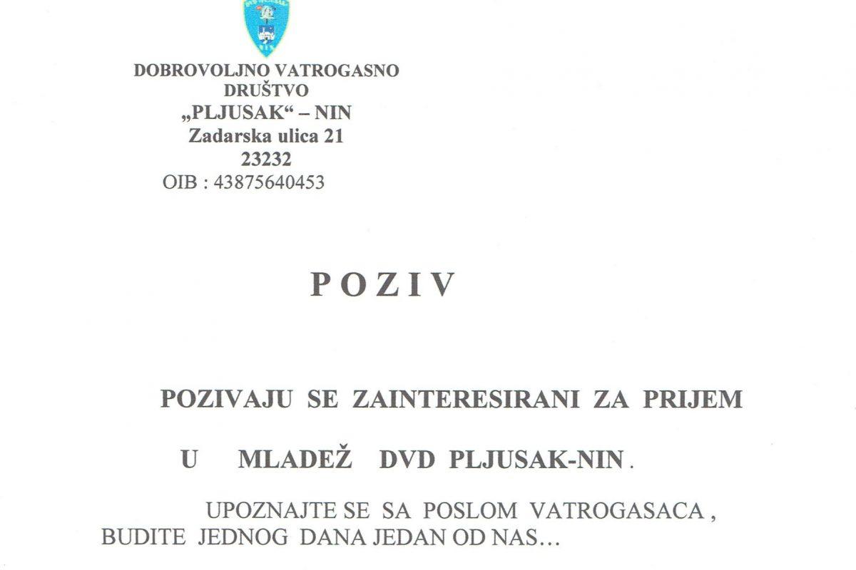 P O Z I V – POZIVAJU  SE  ZAINTERESIRANI  ZA  PRIJEM U      MLADEŽ    DVD  PLJUSAK-NIN